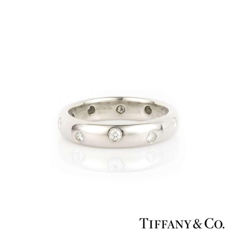 Tiffany Co Platinum Lucida 2mm Wedding Band Ring Sz 8: Tiffany Etoile Wedding Band